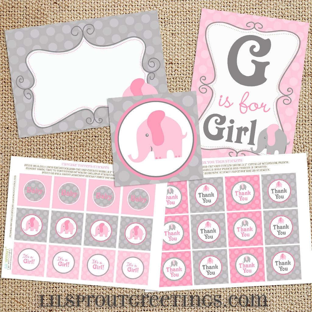 pink elephant baby shower printable decorations instant download