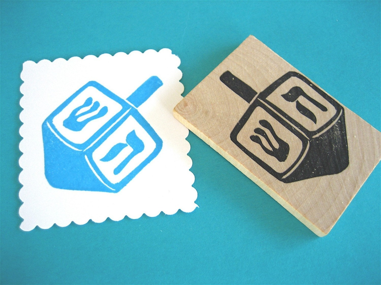 Dreidel Rubber Stamp Chanukah Hanukkah Dreidel Hand Carved Rubber Stamp - DrumChickDesigns