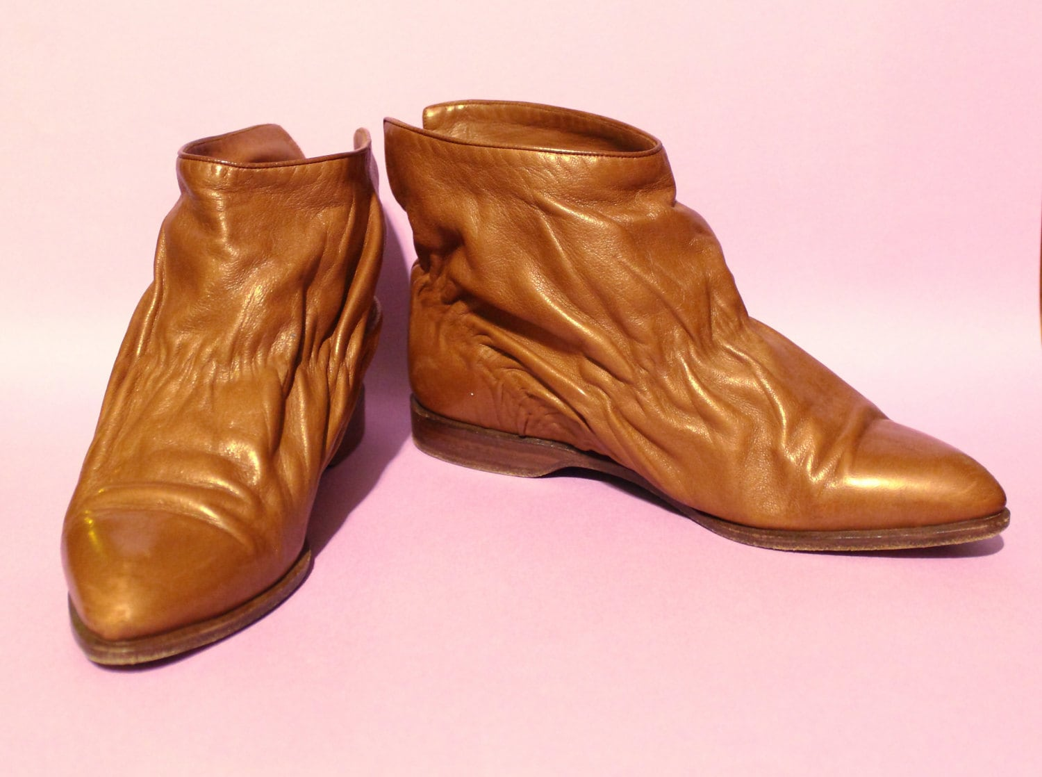 80s Designer Italy Shoes Size 6 B Women Tan Leather Ankle Shoes