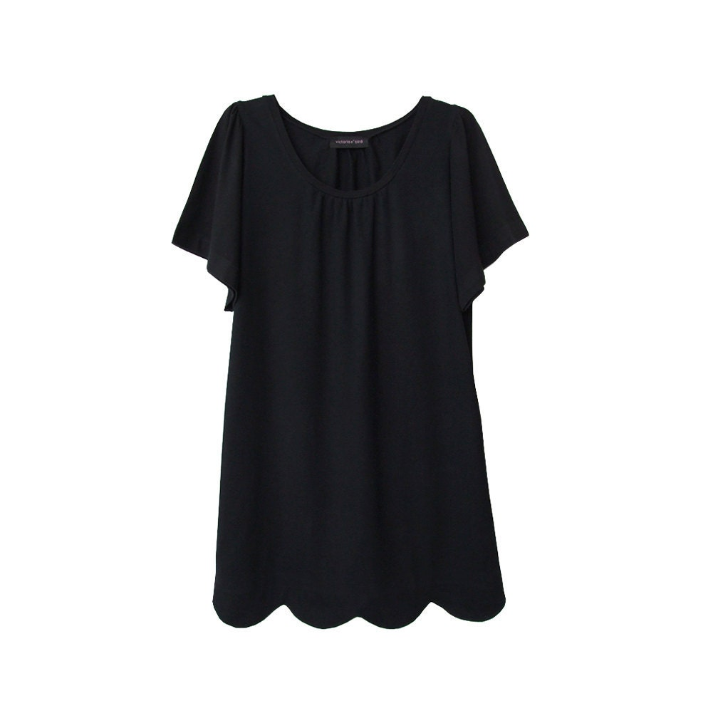 Scalloped hem t-shirt dress - made to order