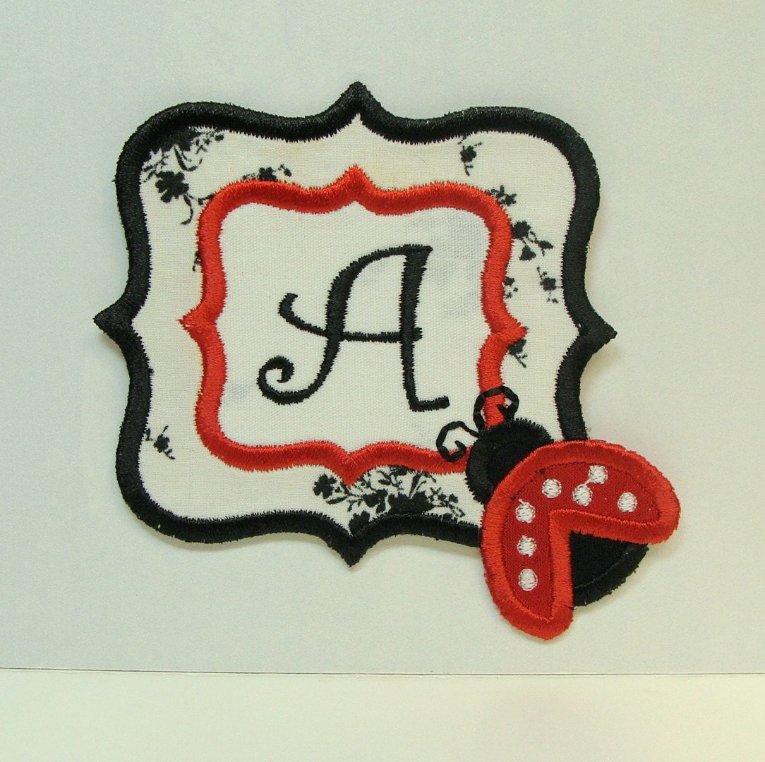 Lady bug monogram iron on sew on by sewproembroidery on etsy for Sew on letters for clothing