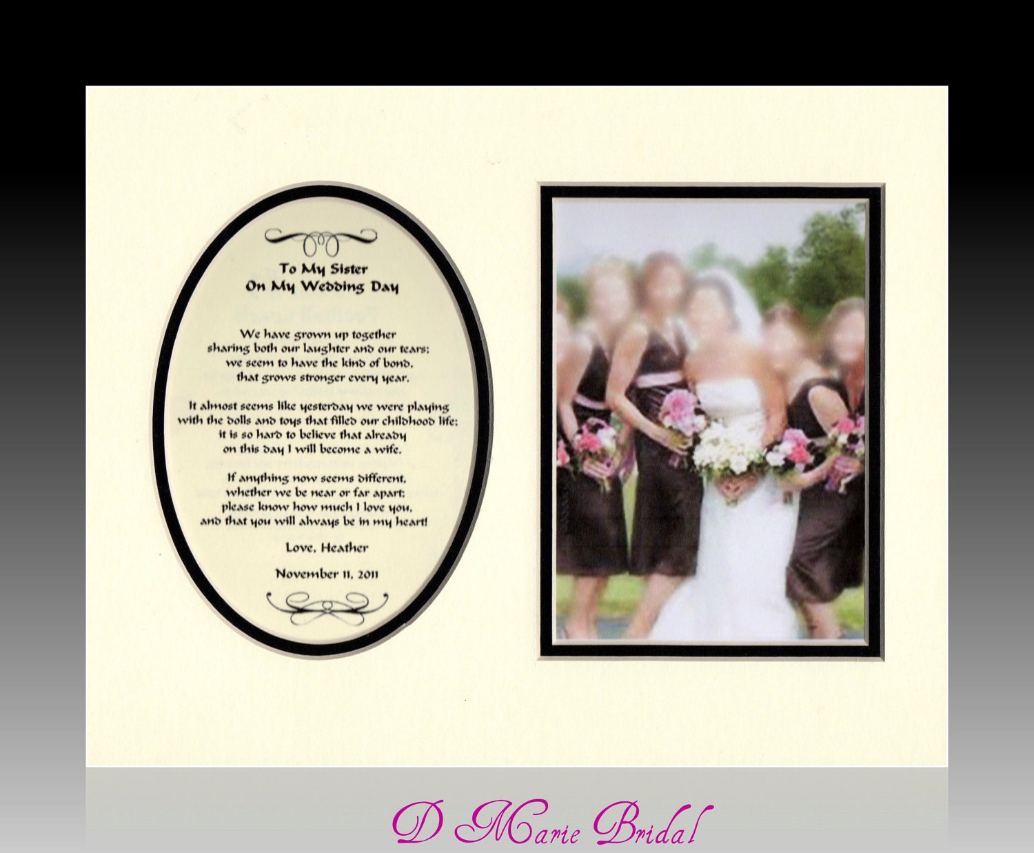 Wedding Day Gift For My Sister : Wedding To My Sister on YOUR Wedding Day personalized gift from sister ...