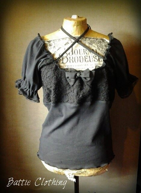 Gothic victorian black peasant blouse top custom by for Best custom made dress shirts online