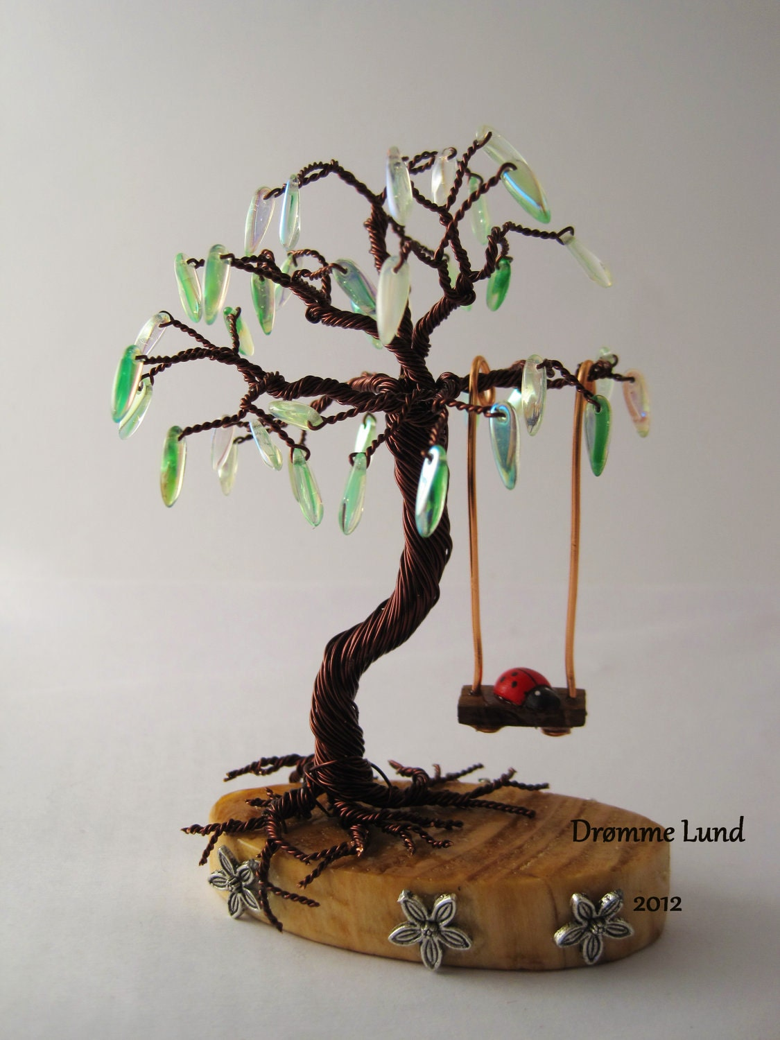 Spring willow copper wire tree sculpture with swing by for How to make a wire tree of life sculpture
