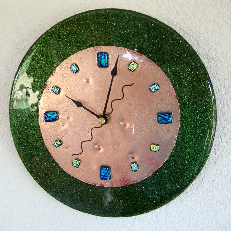 fused glass copper wall clock green round by fireflysg on etsy