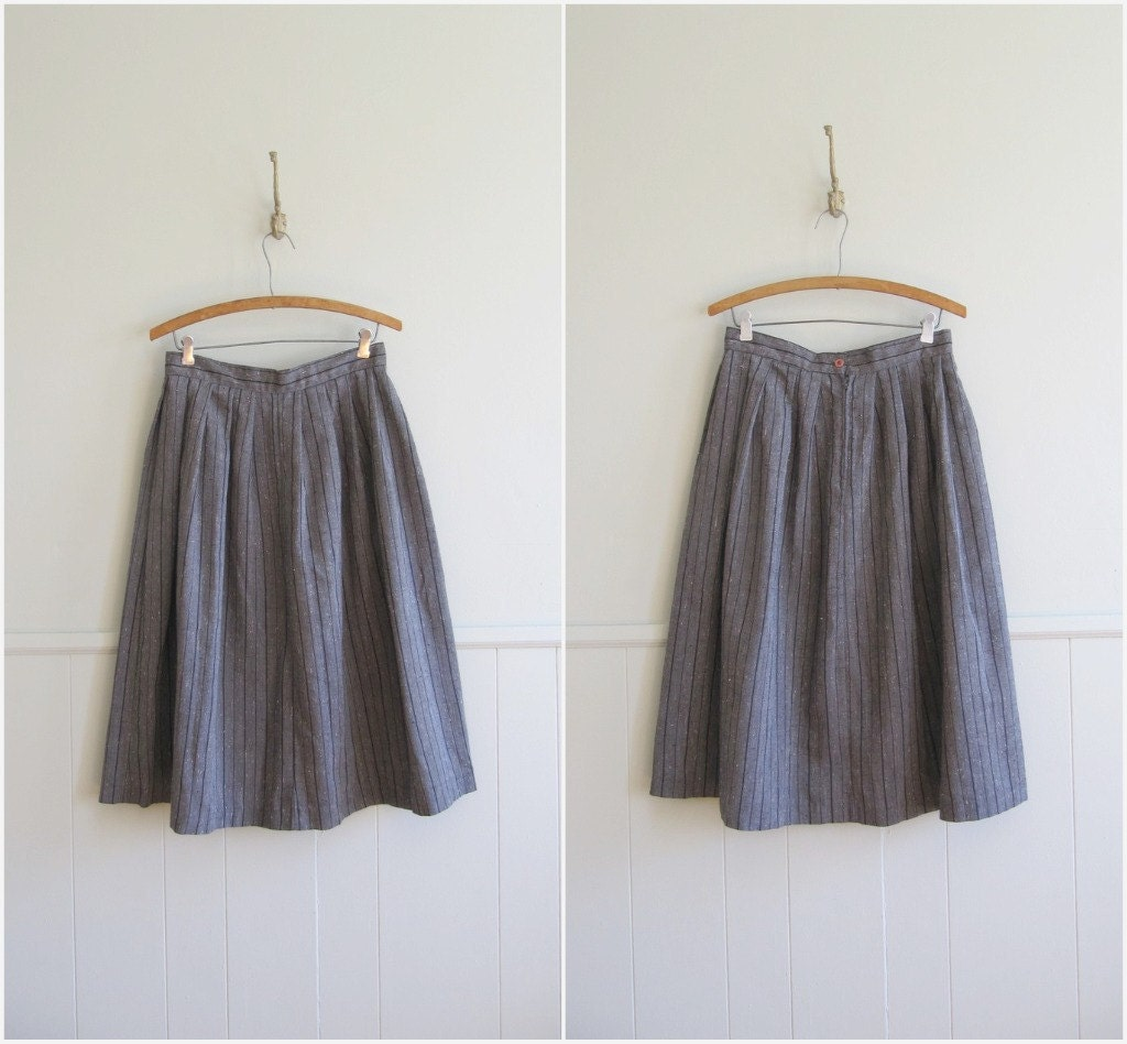 1980s vintage charcoal grey black striped midi skirt