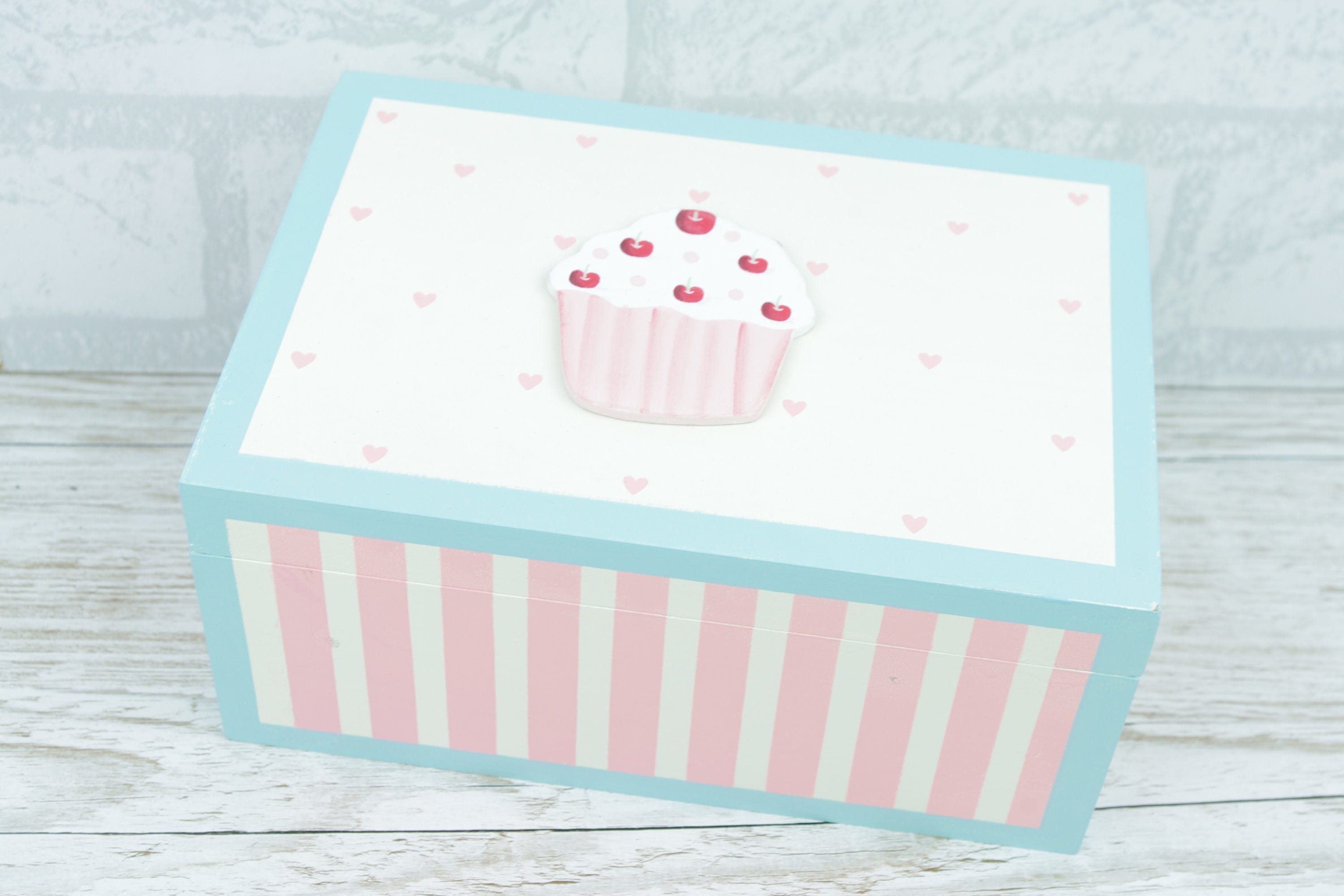 Cupcake Trinket Recipe Box Chest Memory Wooden Box Keepsake Box Cream F0364
