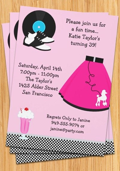 50's Poodle Skirt Party Invitation by eventfulcards on Etsy