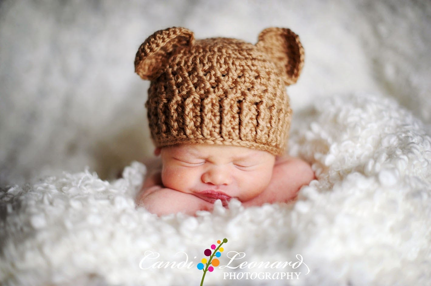 PDF Crochet Pattern - Teddy Bear Hat (sizes Newborn to 12 months) - TheCrochetSisters