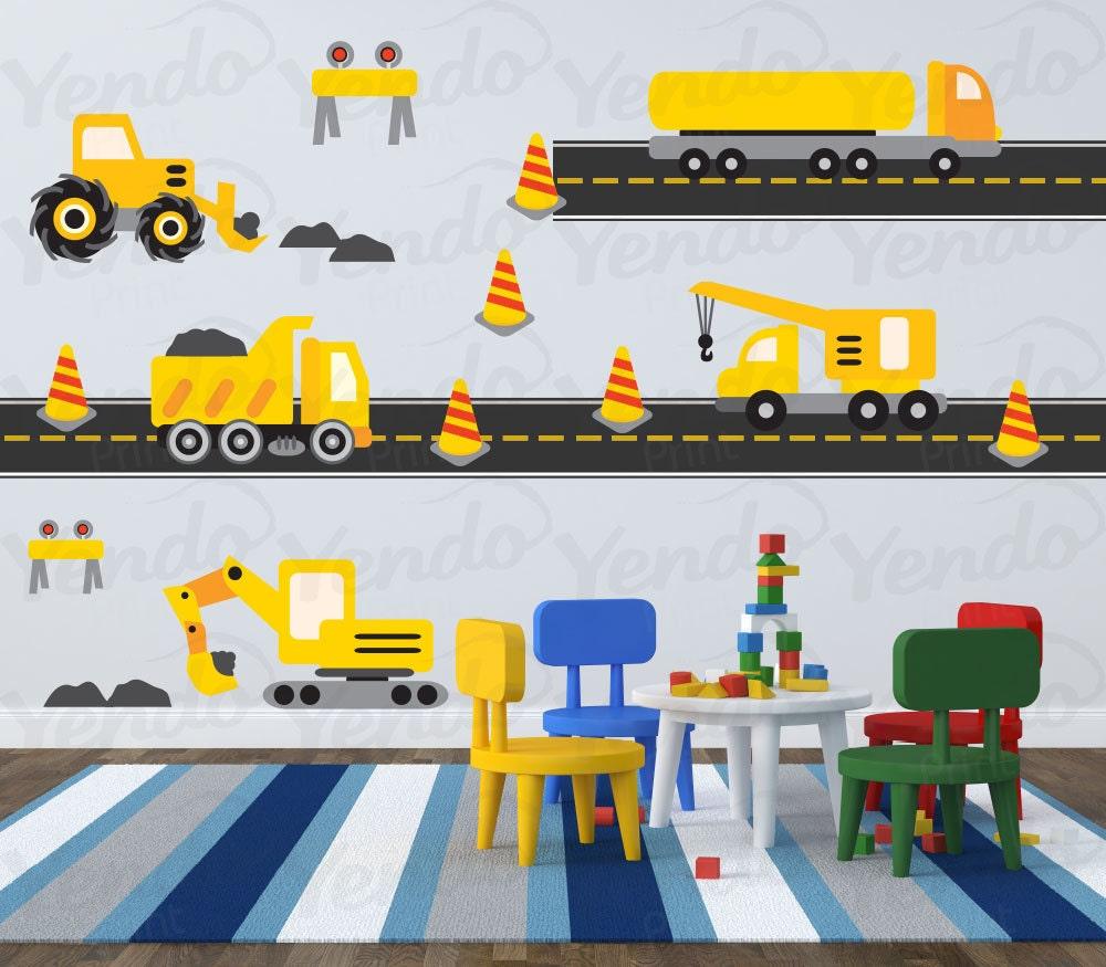 Construction truck decal vinyl wall art children wall for Construction site wall mural