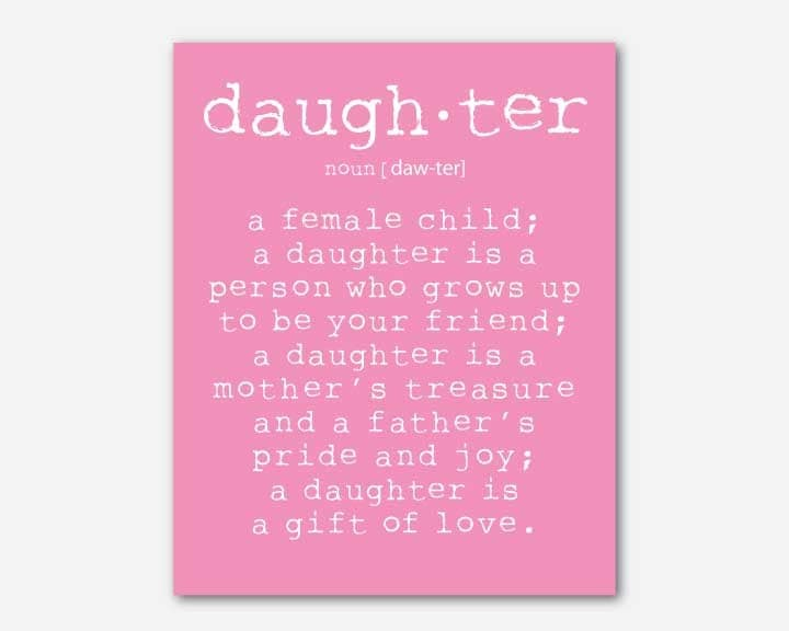 girl 39 s room wall art a daughter is a person daughter