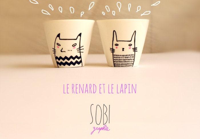 Tasse à café/expresso Renard & lapin (vendues par 2) céramique modèle unique