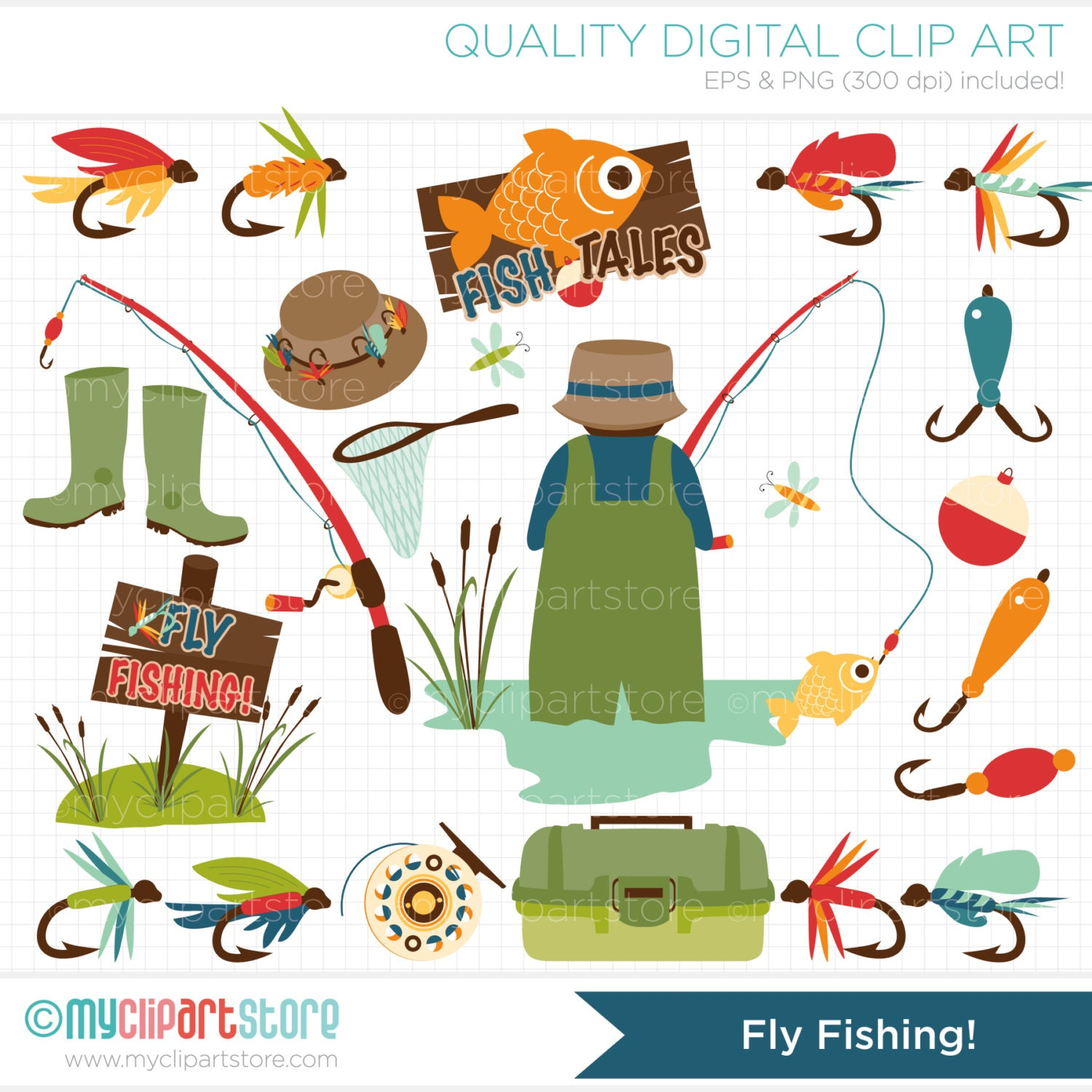 Father 39 s day fly fishing clip art digital by for Fly fishing shops near me