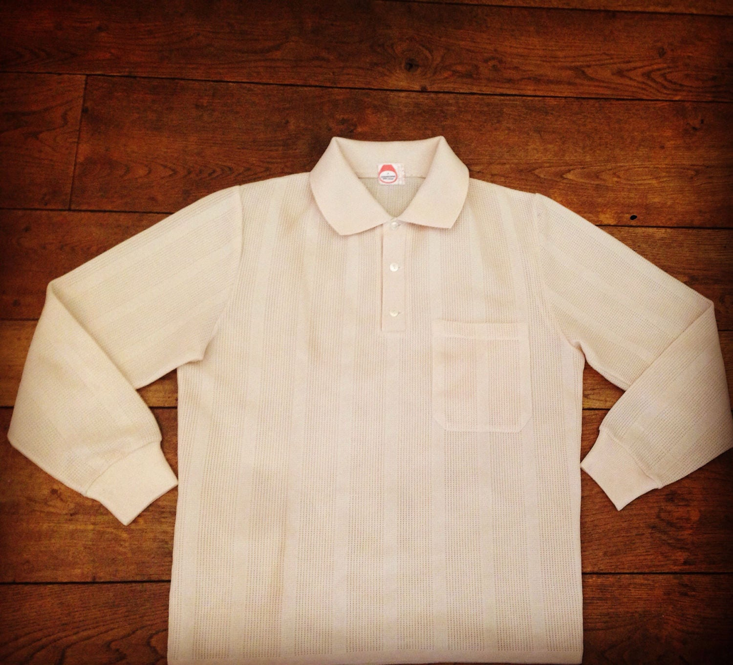 1960s Knitted Polo Shirt Small Mesh Net Vintage Rare Crocheted Mod Cream Like Fred Perry