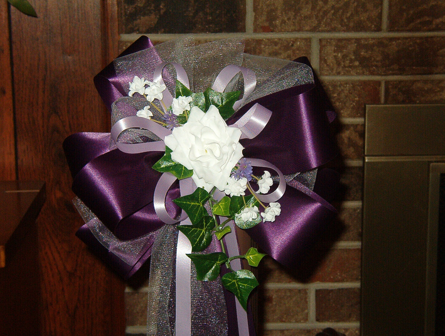10 purple lavender white rose pew bows wedding by superbuy4j - Bow decorations for weddings ...
