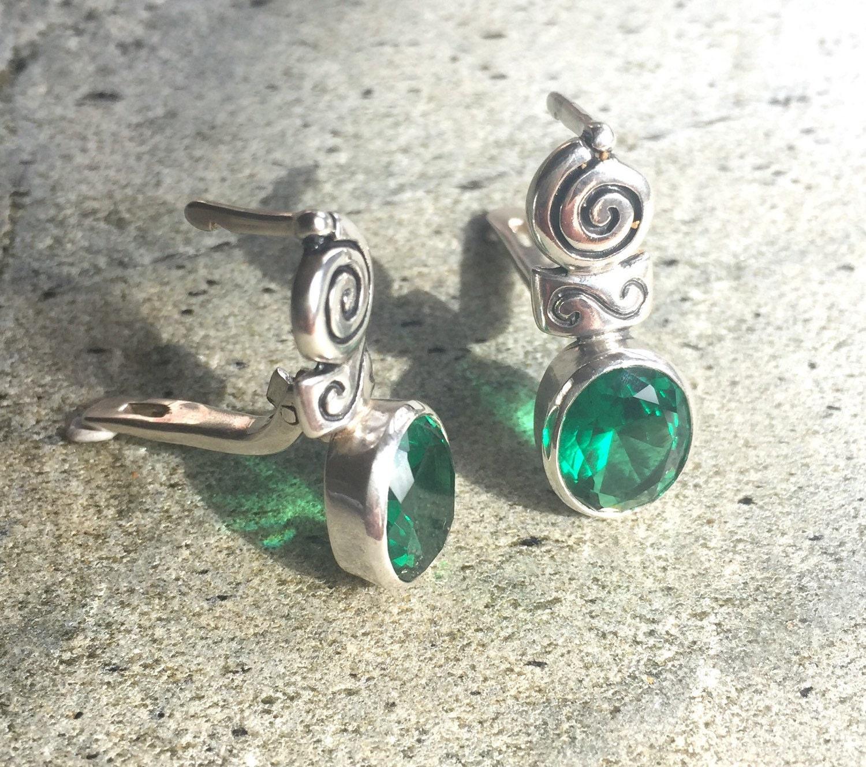 Emerald Earrings Antique Earrings Vintage Earrings Antique Emerald Green Earrings Sterling Silver Green Vintage Solid Silver