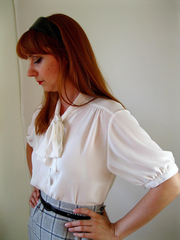 White blouse office secretary fall fashion by gogovintage on etsy