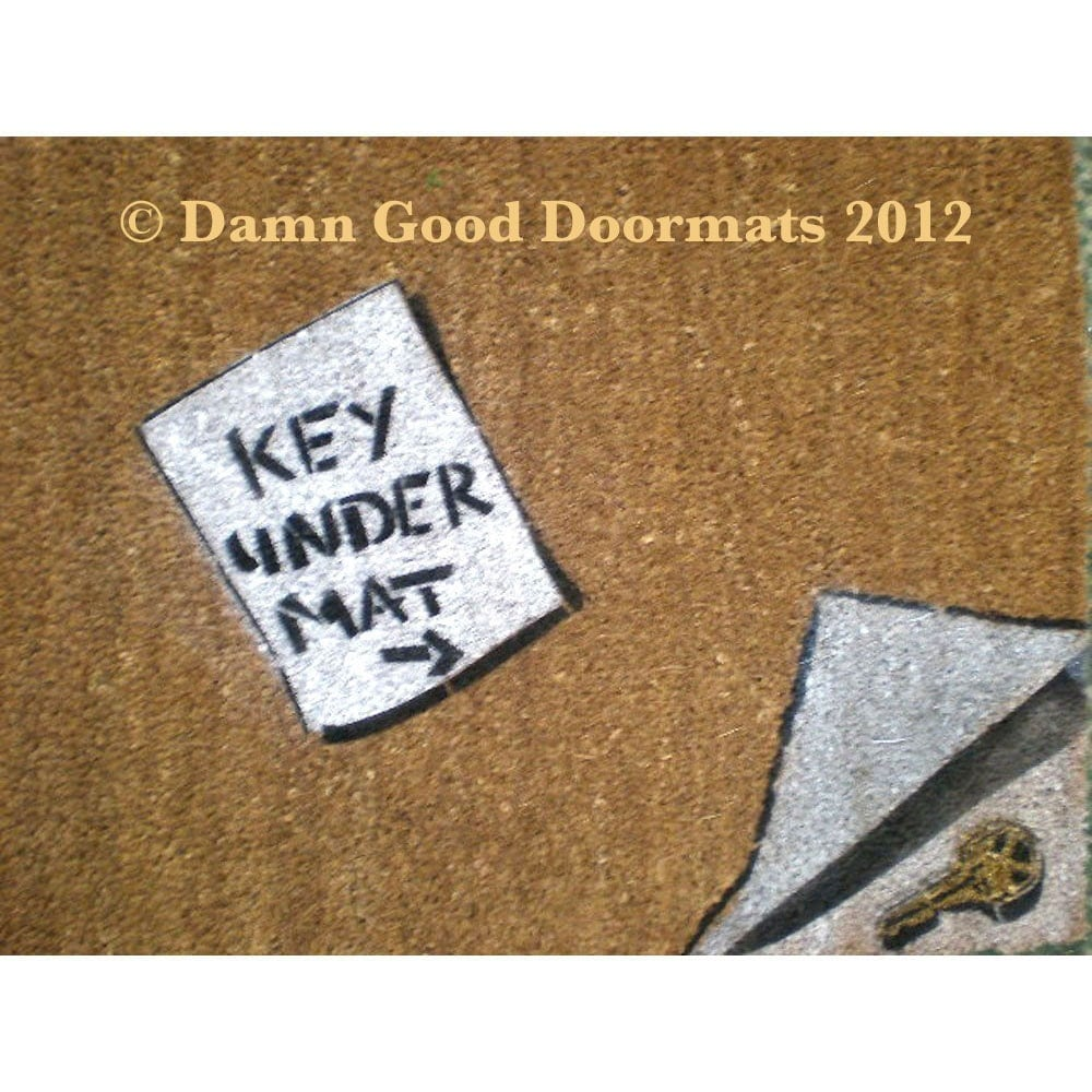Items Similar To Funny Reminder Note Doormat Key Under