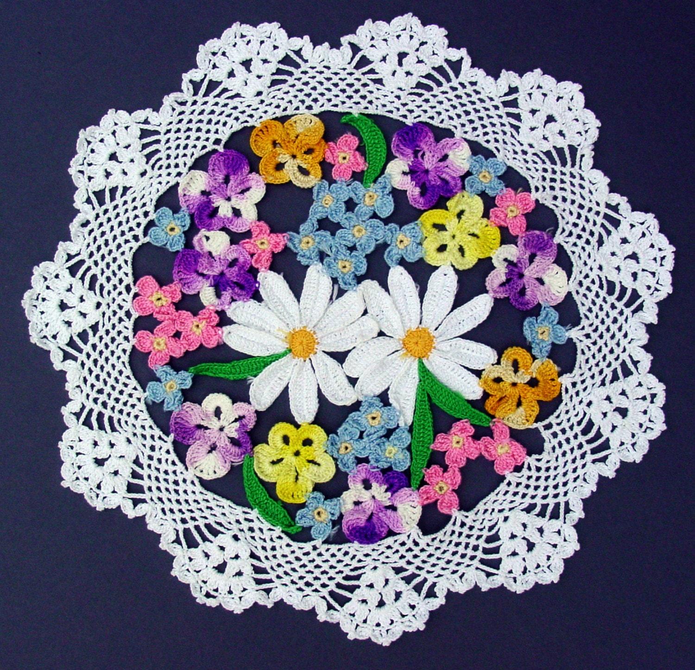 Crochet Flower Bouquet Patterns : Flower Bouquet Doily Crochet Pattern PDF by Maggiescrochet ...