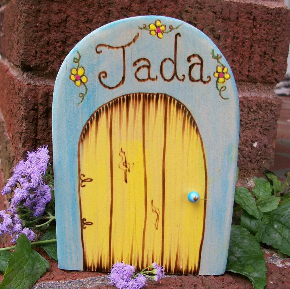 Personalize a wooden fairy door full 6 inches by for Wooden fairy doors to decorate
