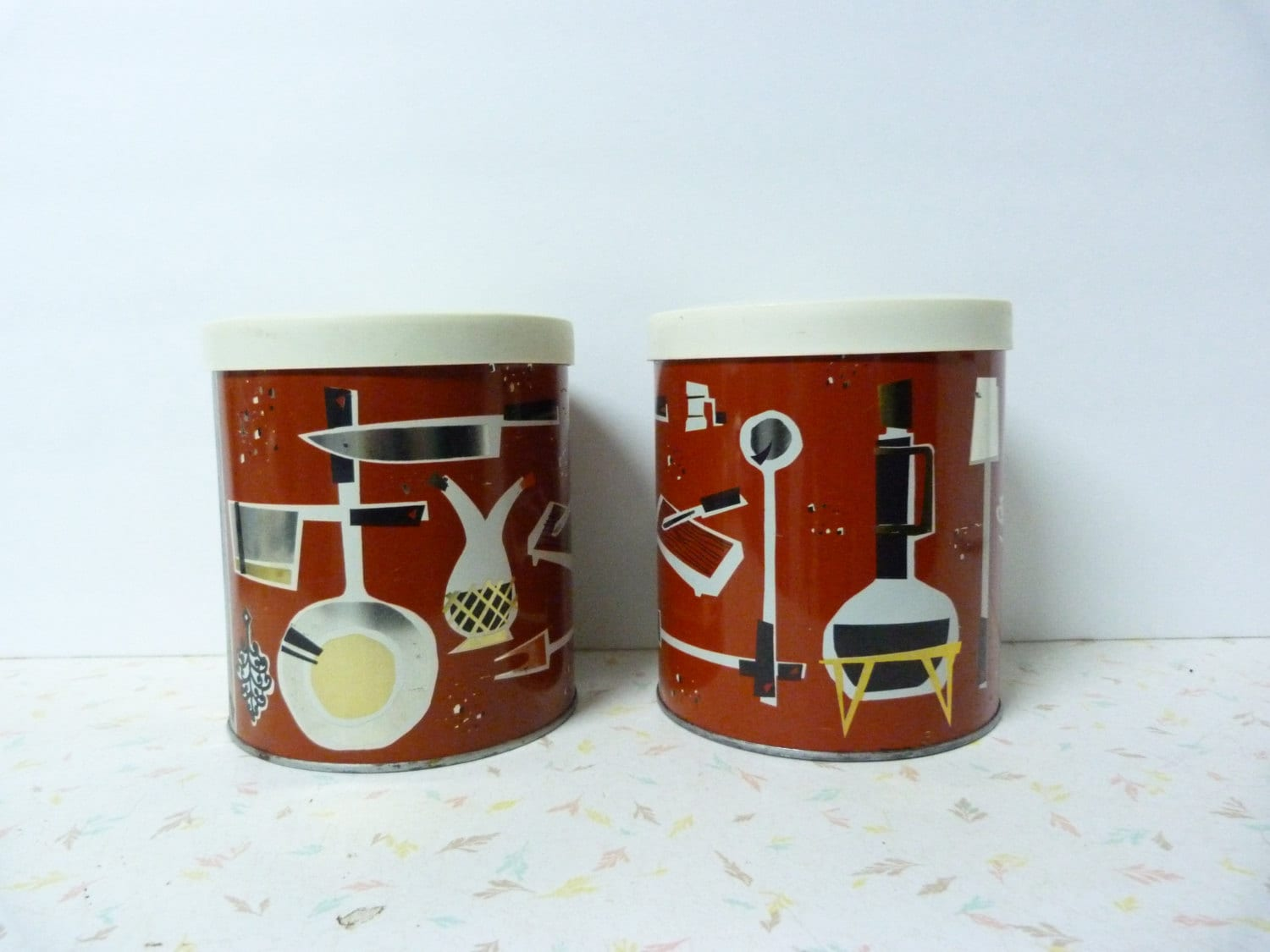 vintage 1950 s mod modern kitchen canister set by