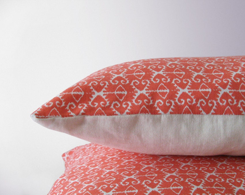 Coral ikat pillow cover - 40x40 cm (16x16 inches) - EllensAlley