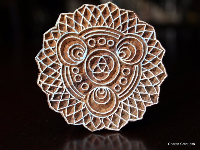 Indian hand carved wood block stamp sacred by charancreations