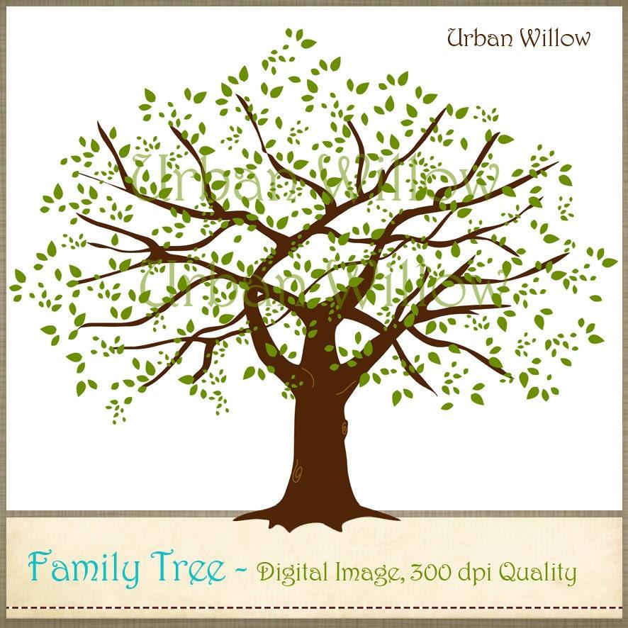 Family Oak Tree Large Digital Oak Tree Clip Art