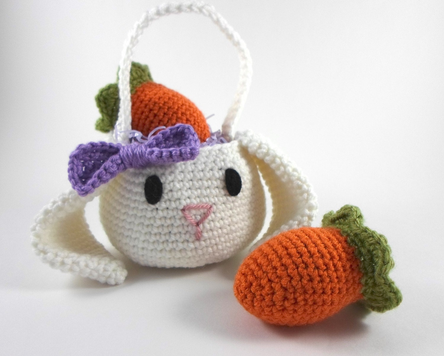 Crochet Egg Basket : to Crochet Bunny Basket with Purple Bow, Easter Basket with Carrot Egg ...