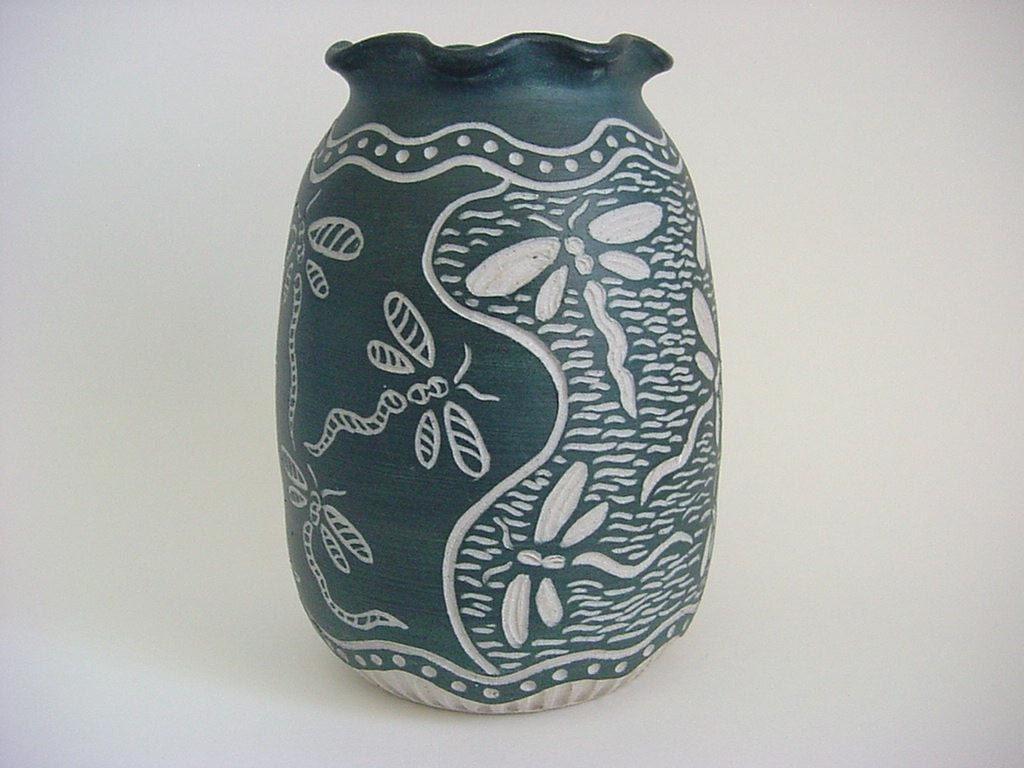 Dragonflies  Sgraffito Stoneware Art Pottery