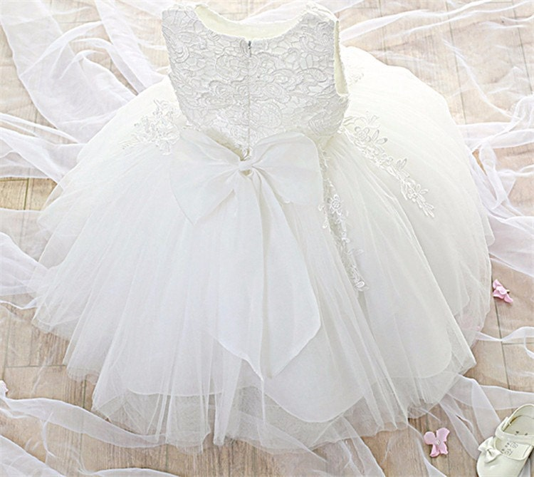 Gwen Baby Girl IvoryPink Formal Dress Flower Girl Christening Wedding Party Pageant Gown Bridesmaid