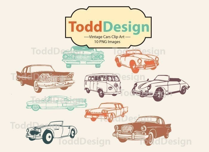 Vintage Cars Digital Clip Art for wedding invitations baby shower cards