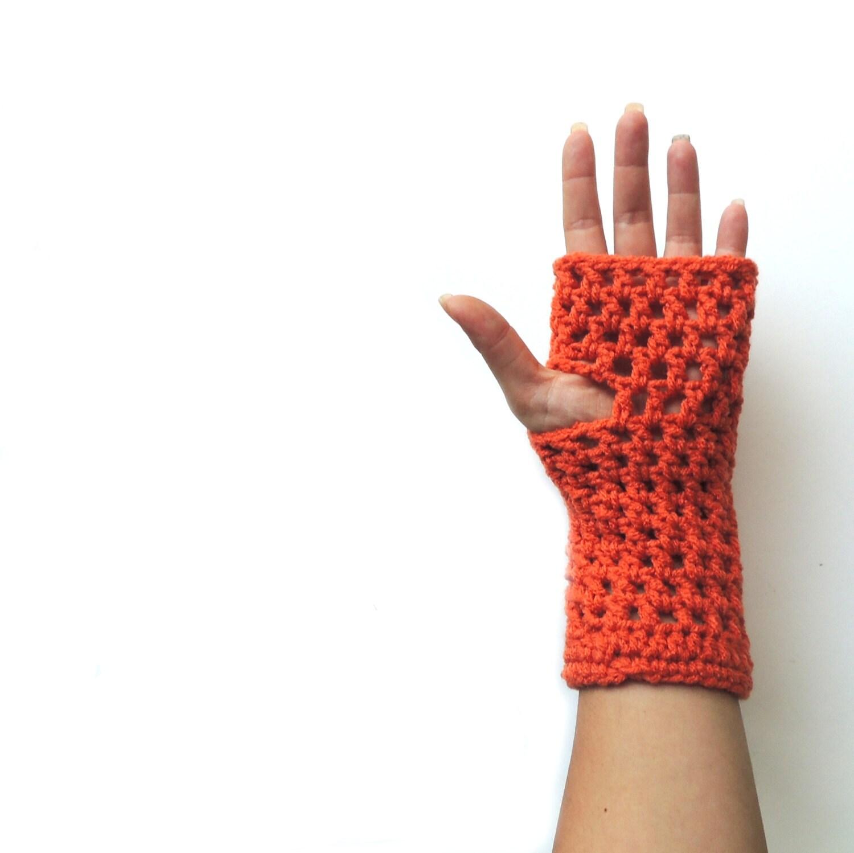 Fingerless gloves, Fingerless mittens, Orange Crochet fingerless glove,   long fingerless glove, arm warmers - JPwithLove