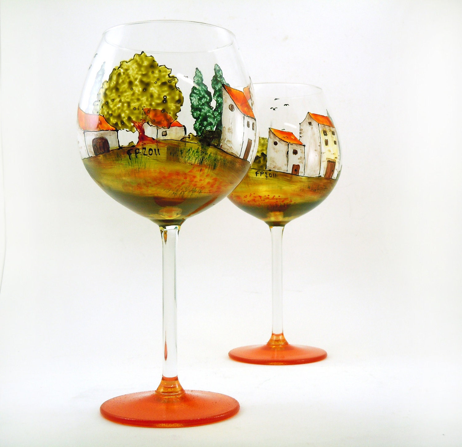 Hand painted glasses - Set of 2 red wine glasses  - Village Provencal collection - CreationsdeFlorence