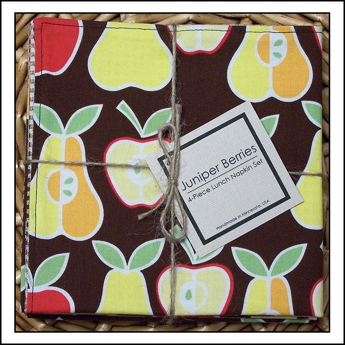 Red Apples and Yellow Pears on Brown Cloth Lunch Napkin Set
