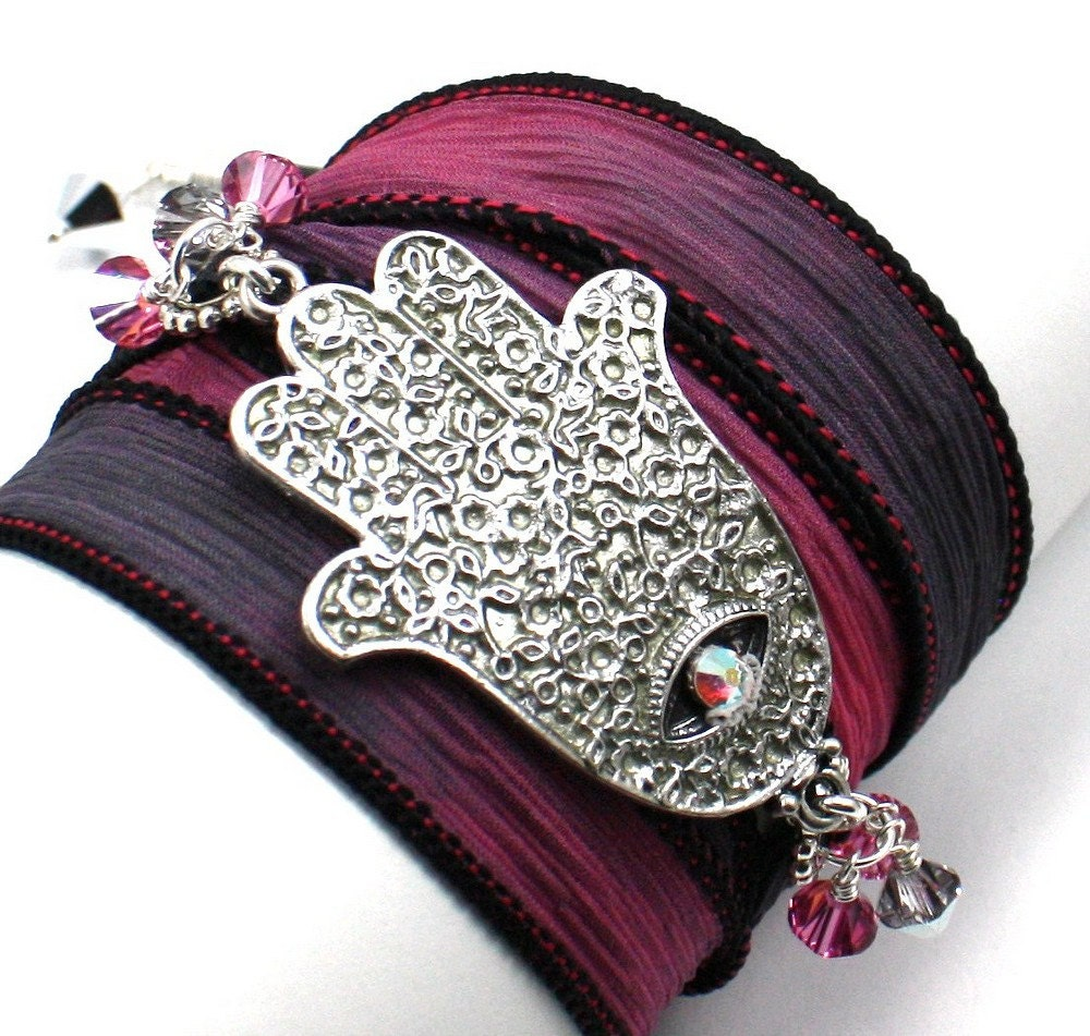 Hand Dyed Silk Wrap Bracelet - Wings of Angels  with Silver Hand Painted Hamsa Slider and Crystal Accents - anjalicreations