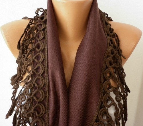 Brown Scarf Women Pashmina Scarf  Cotton Scarf   Cowl with Lace  Brown Scarves For Women