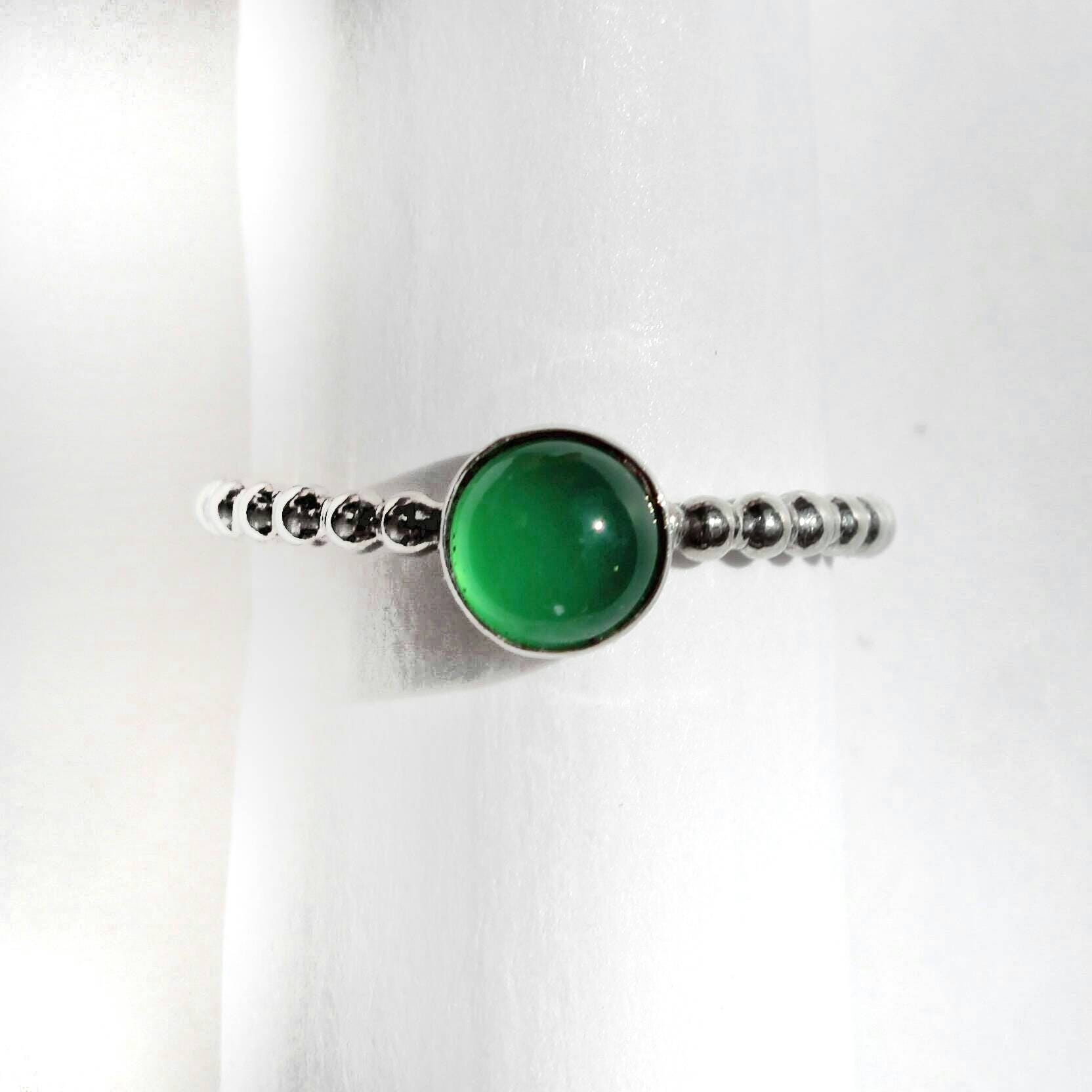 Sterling Silver and Green Agate Beaded Stacking Ring