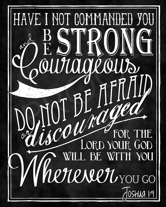 Mounted Scripture Art 8x10 - Joshua 1:9 Chalkboard - ToSuchAsTheseDesigns