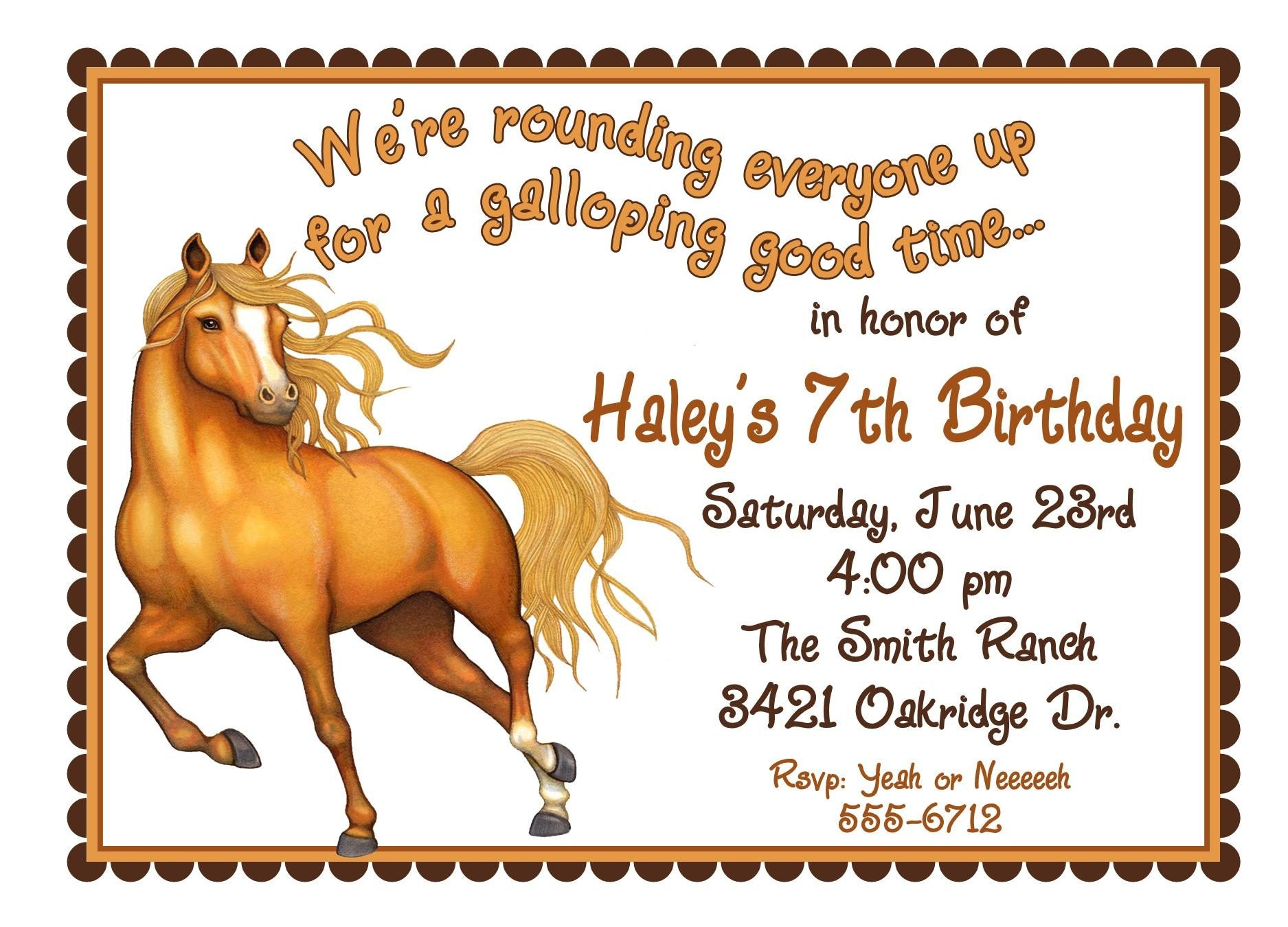 Personalized Birthday Invitations Horse Western Wild West Cowboy