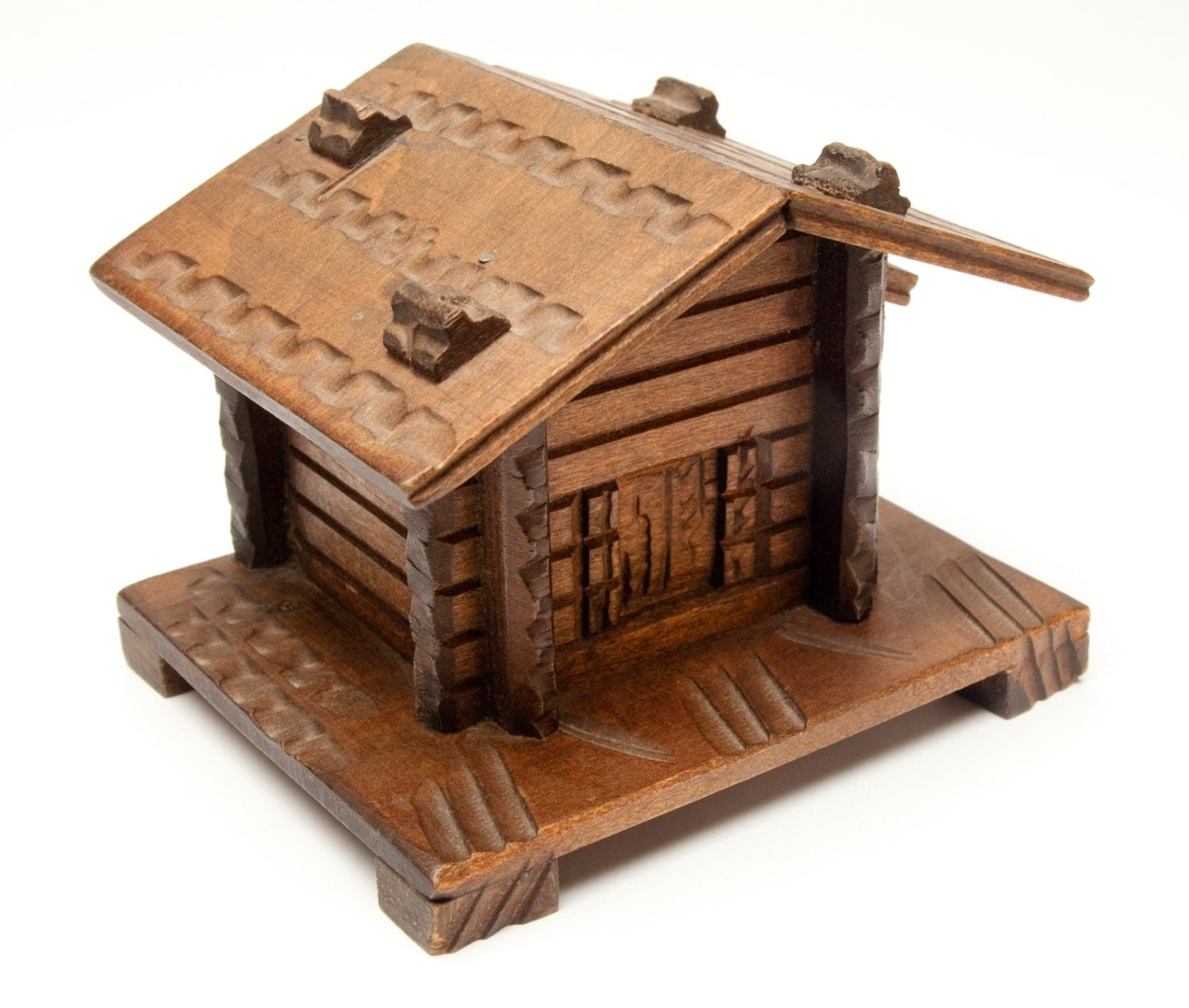 Marvelous photograph of Vintage Log Cabin Savings Bank Puzzle bank secret by wendisattic with #361C10 color and 1500x1272 pixels