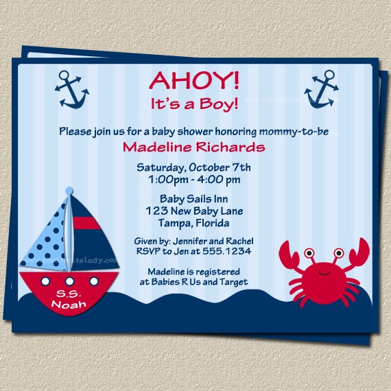 ahoy its a boy nautical theme baby shower invitations with sailboat