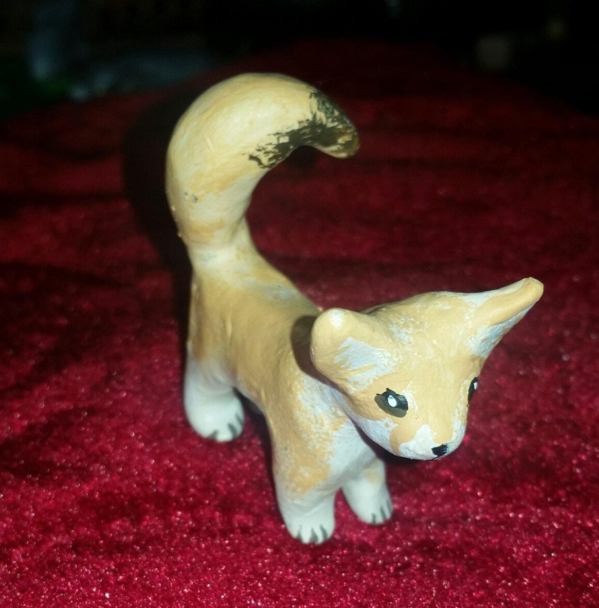Polymer Clay Totem Talisman Animal Figure Fennec Fox.