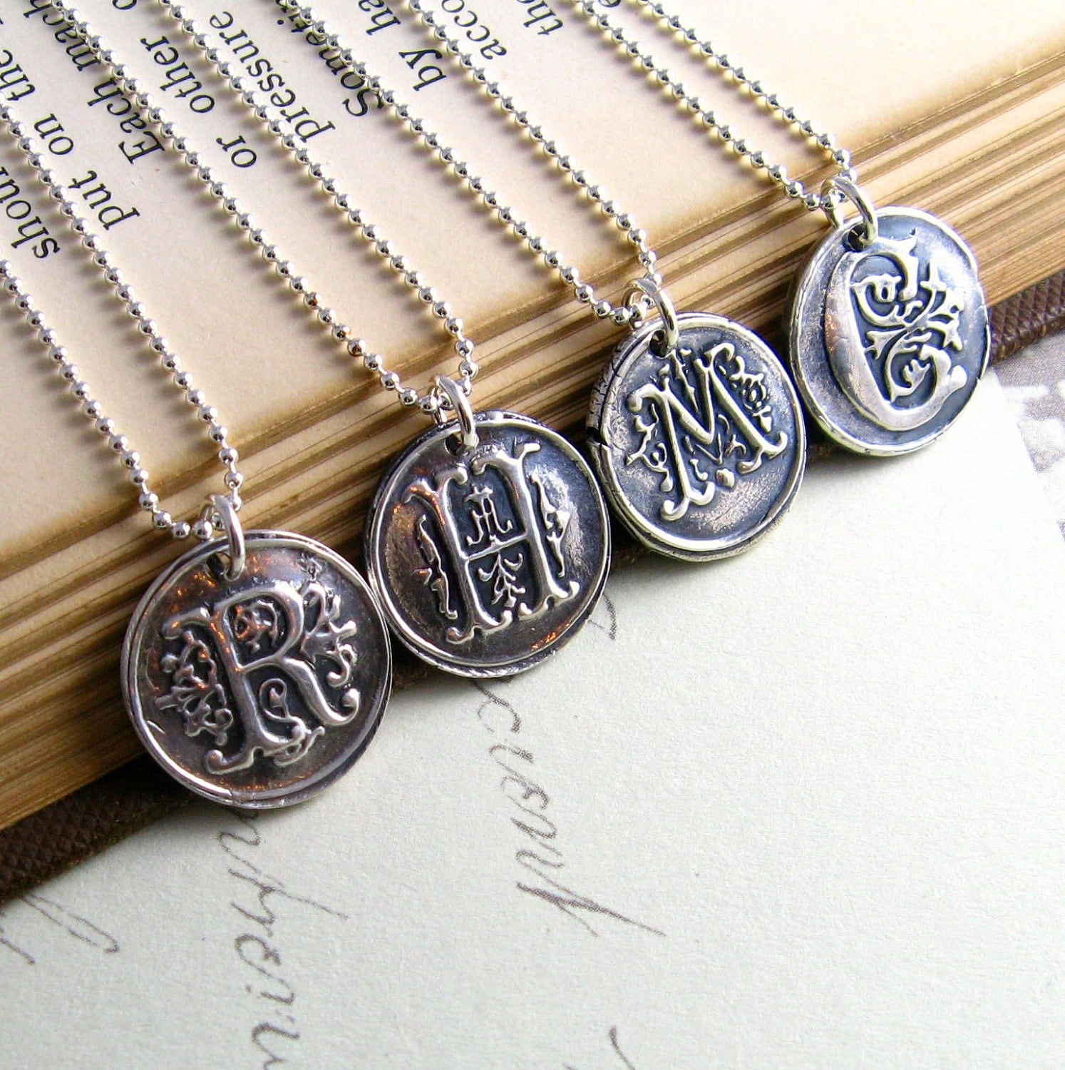 bridesmaids jewelry wax seal silver monogram by newhopebeading