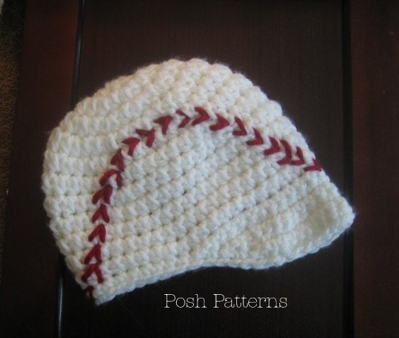 Free Crochet Pattern Newborn Baseball Cap : Crochet PATTERN Baby Baseball Newsboy Visor by PoshPatterns