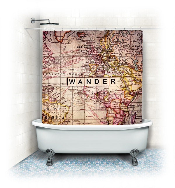 Wander Fabric Shower Curtain Wander world by VintageChicImages