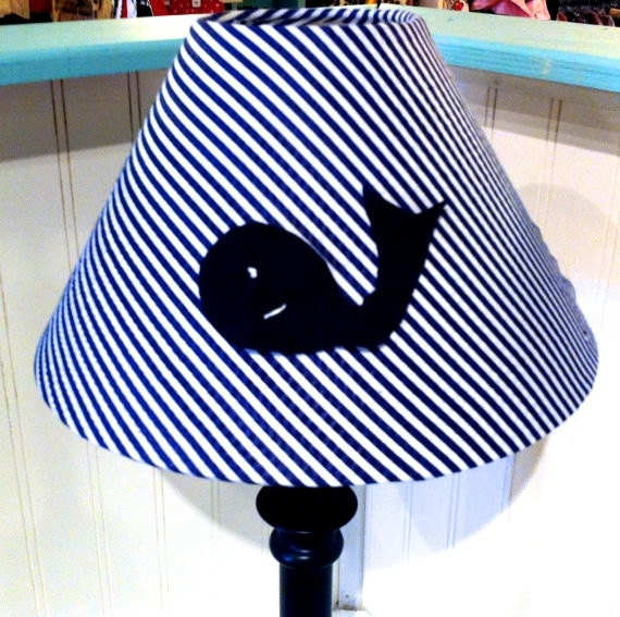 whale lamp shade nautical decor coottage decor by polkadotpillow. Black Bedroom Furniture Sets. Home Design Ideas