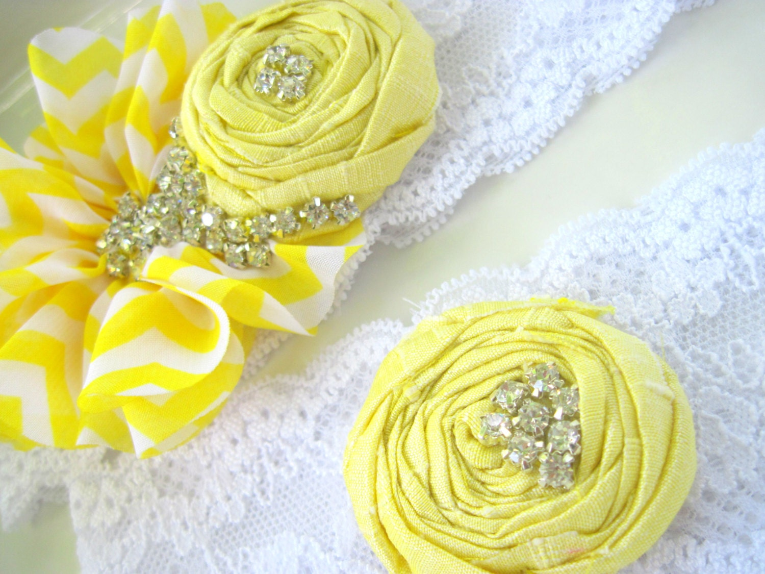Yellow wedding garter - chevron - bridal accessory - rhinestone garter
