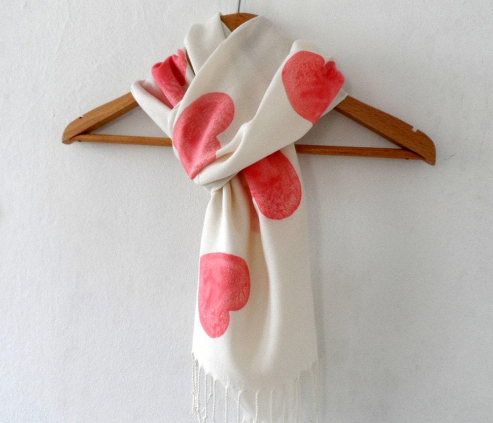 Red  Hearts Scarf in Cream, Hand stamped Off white  Tassel scarf, winter accessories, valentine fashion - ShebboDesign