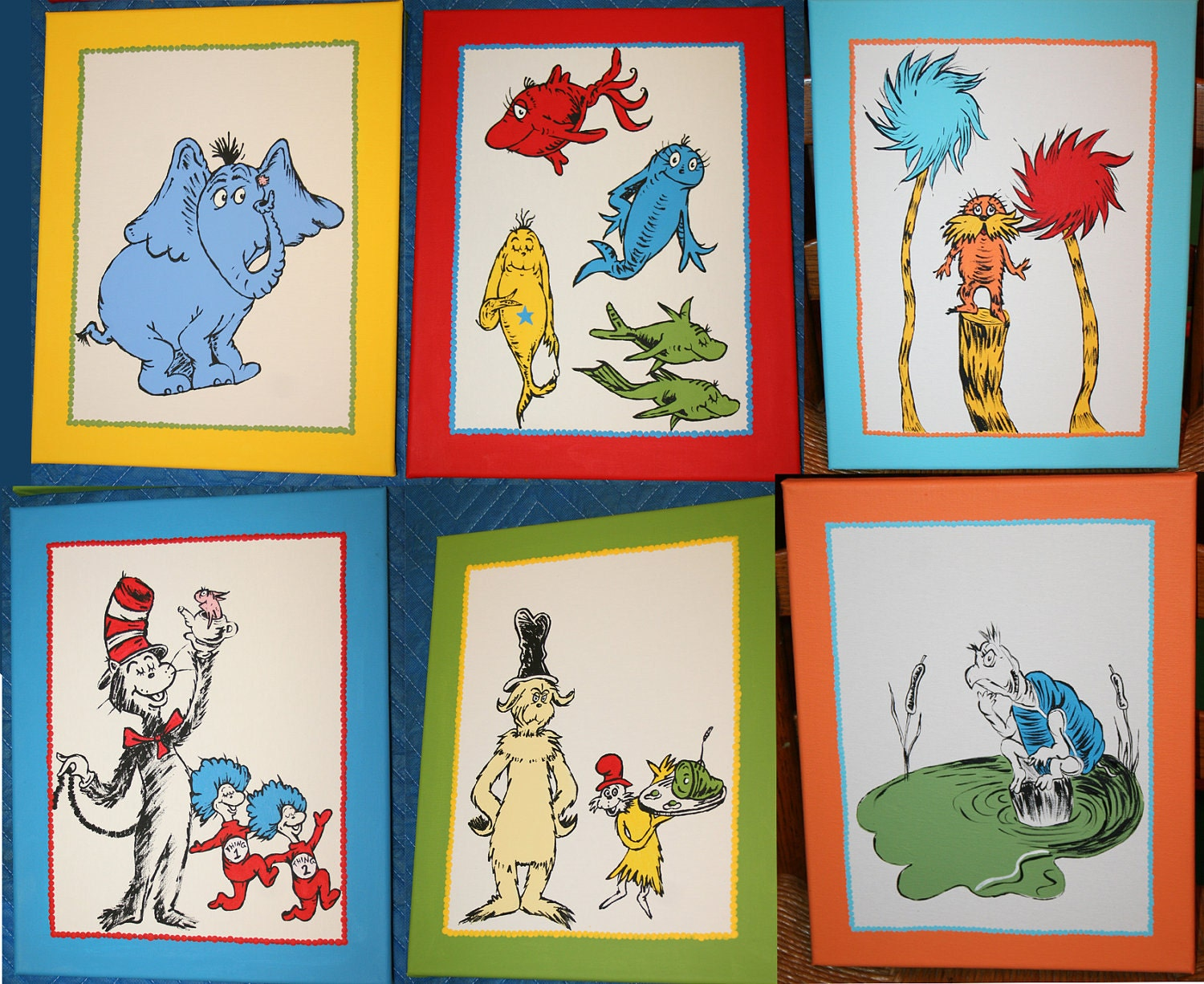set of six dr seuss inspired custom hand painted by paintmama. Black Bedroom Furniture Sets. Home Design Ideas